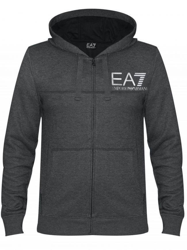 Grey Print Logo Hooded Zip Sweatshirt