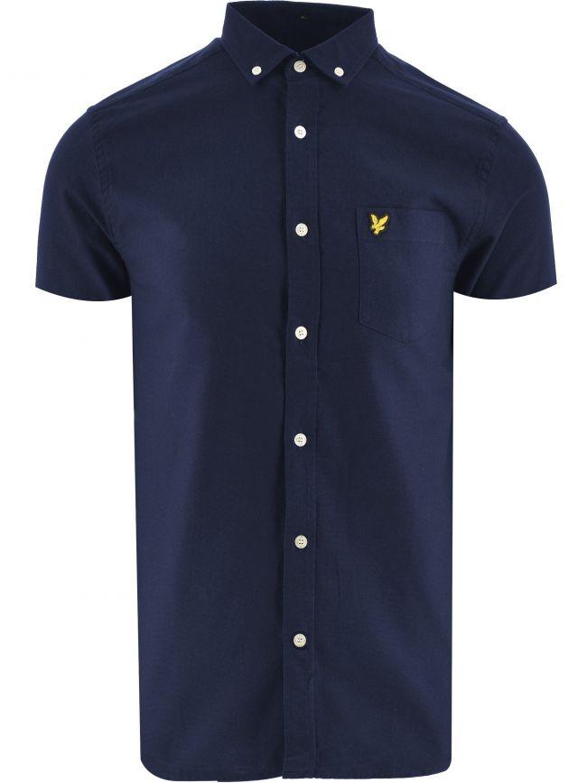 Navy Short Sleeve Light Weight Slub Oxford Shirt