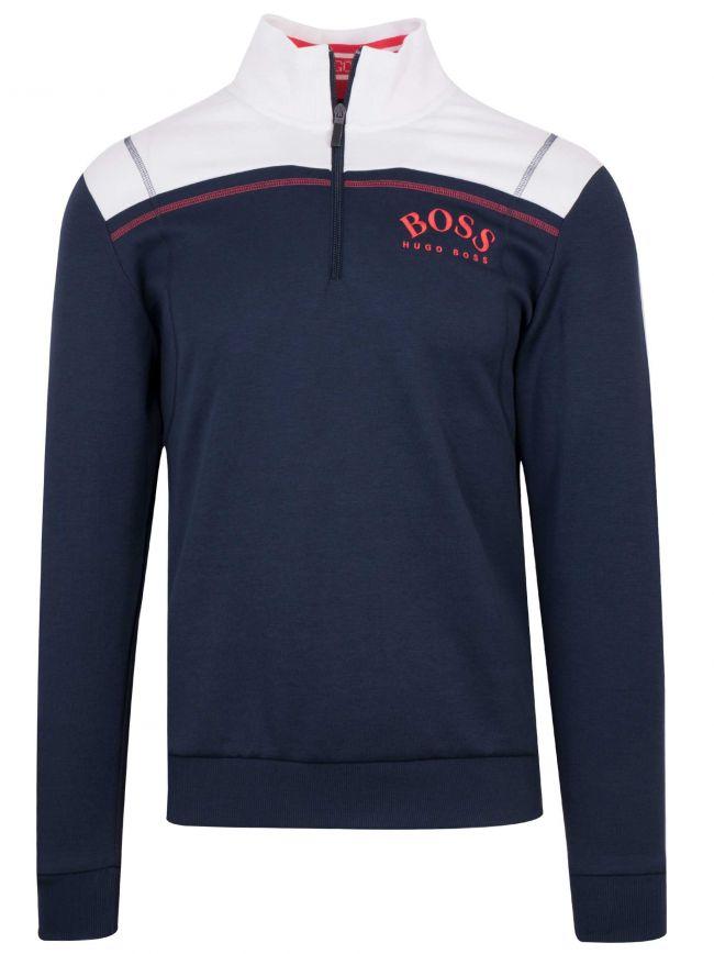 'Sweat' Navy & White Half Zipped Sweatshirt