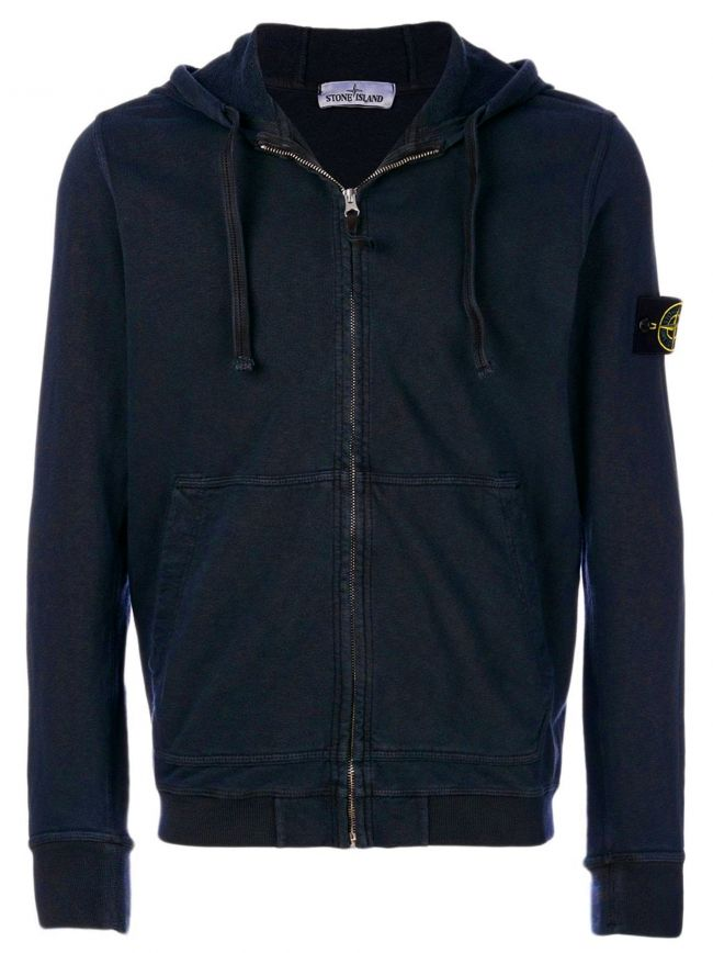 Navy Blue Logo Patch Hooded Jacket
