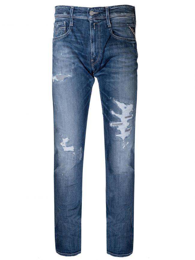 Distressed Indigo Blue Anbass Super Stretch Jean