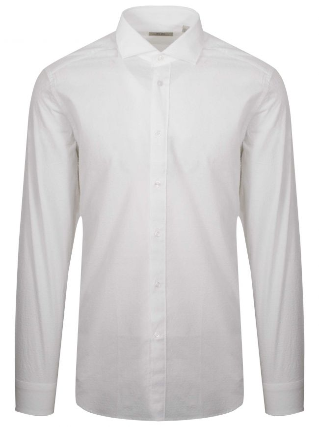 White Textured Long Sleeve Shirt