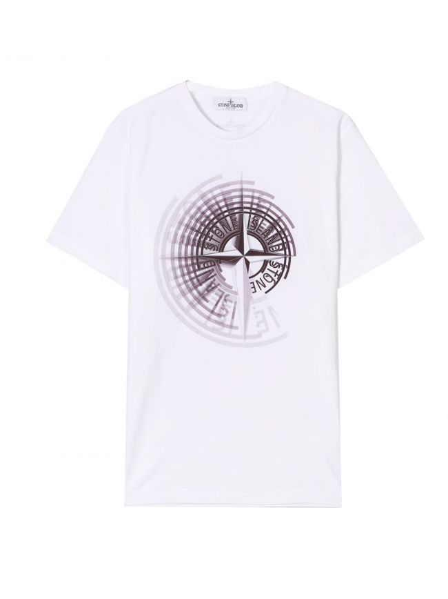 White Printed Compass Logo T-Shirt