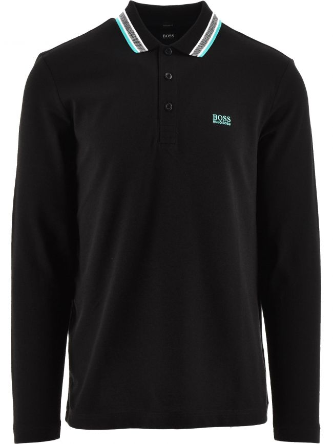 Black Plisy Pique Cotton Polo