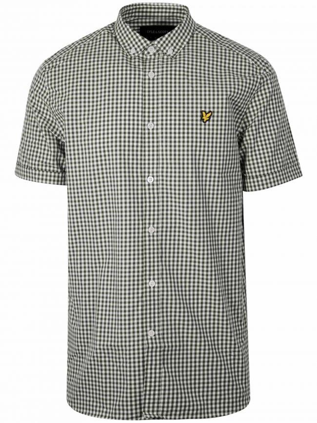 White & Green Gingham Short Sleeve Shirt