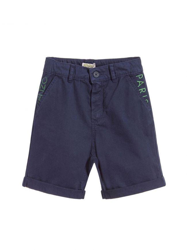 Navy Cotton Cargo Shorts