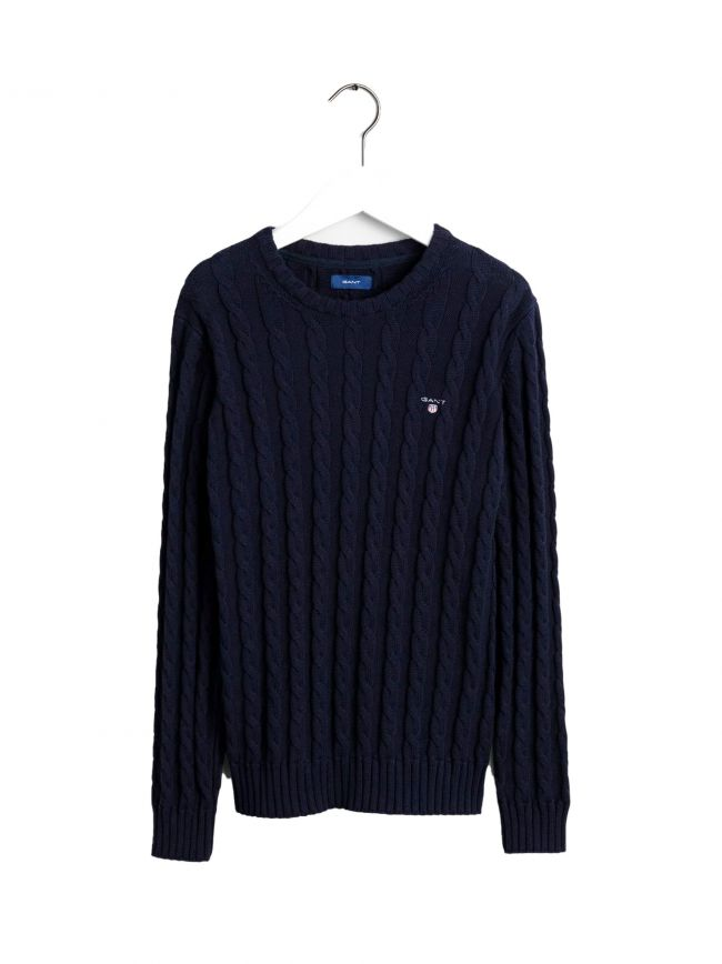 Blue Cable Knitted Jumper