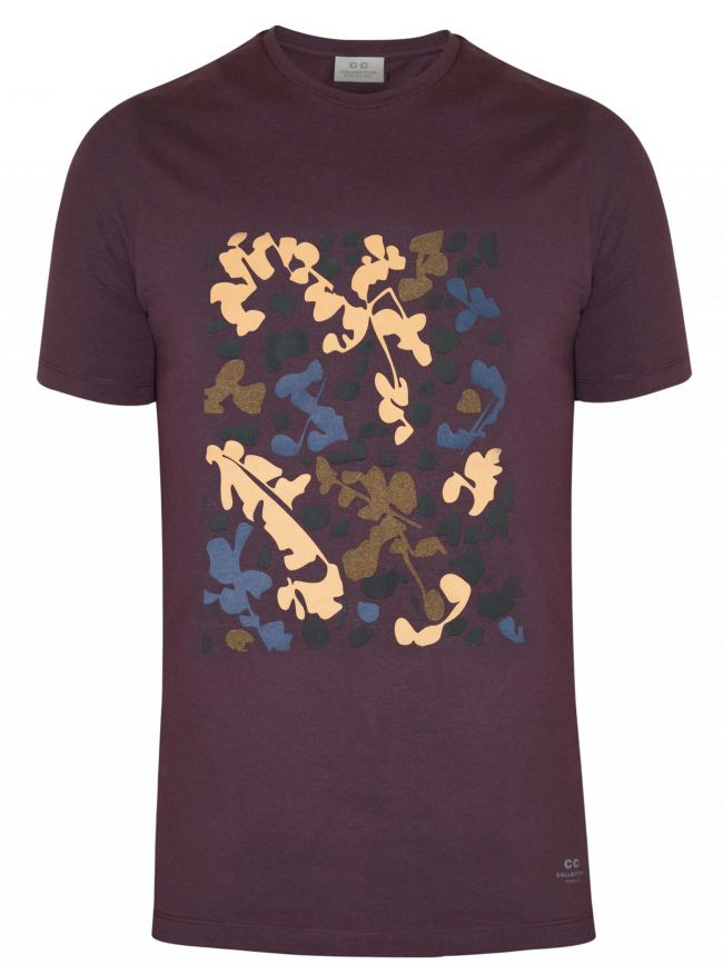 Burgundy Graphic Crew Neck T-Shirt