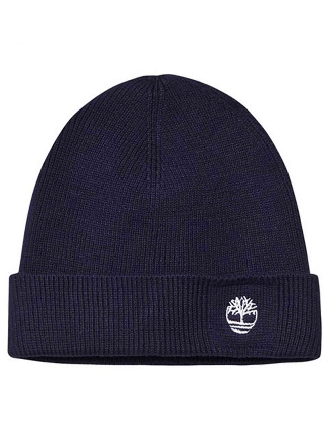 Navy Blue Ribbed Fold Back Beanie