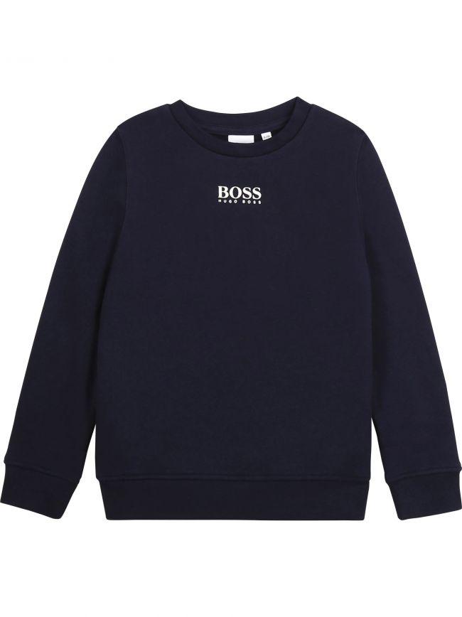 BOSS Kids Navy Fleece Sweatshirt
