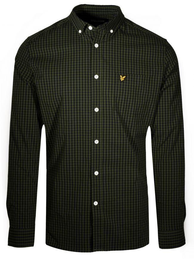 Green Slim Fit Gingham Shirt