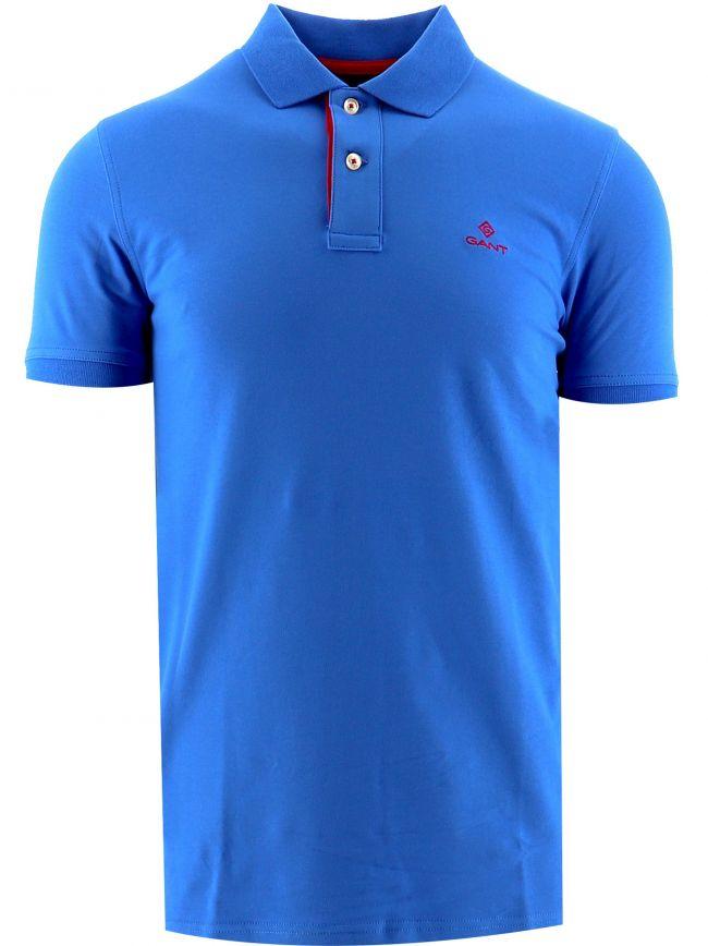 Blue Contrast Collar Pique Rugger Polo Shirt