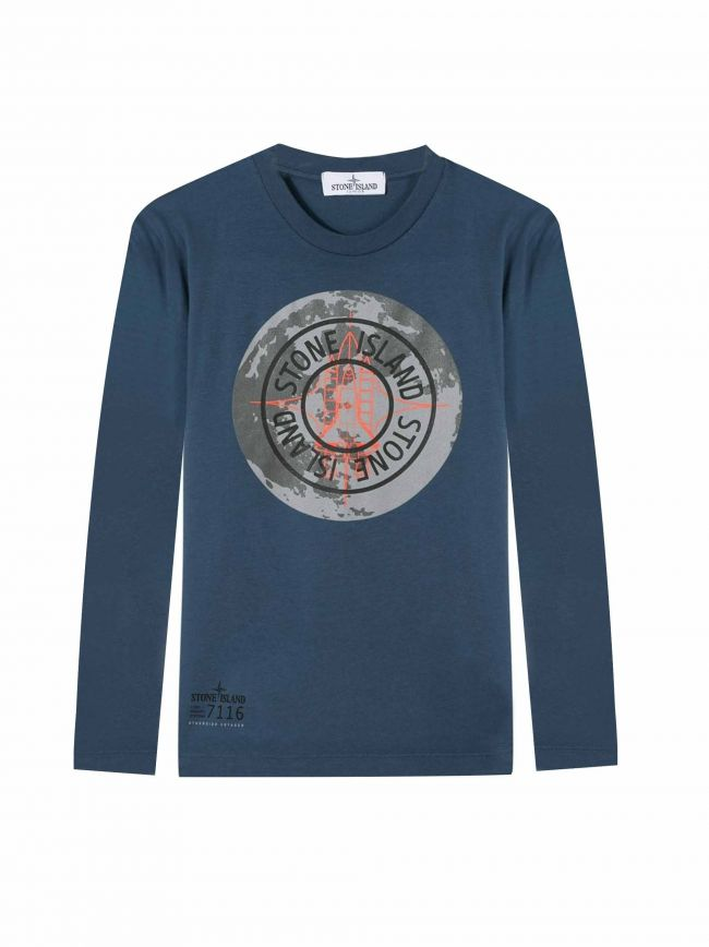 Avio Blue Long-Sleeved Logo T-Shirt