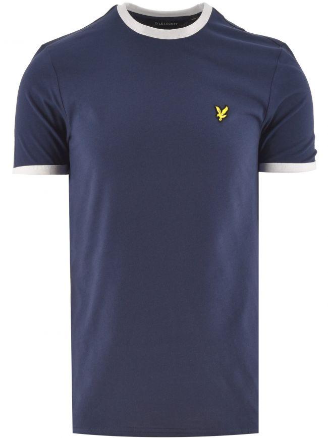 Navy and White Ringer T Shirt