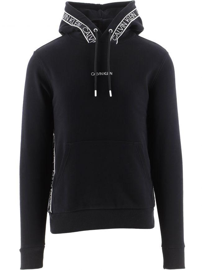 Black Organic Cotton Logo Tape Hooded Sweatshirt