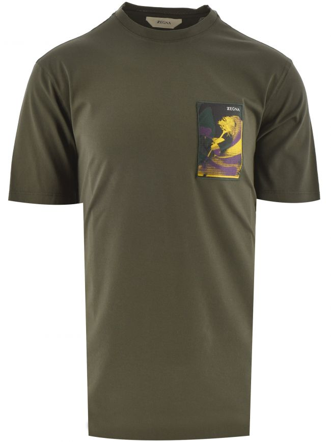 Dark Green Cotton T Shirt