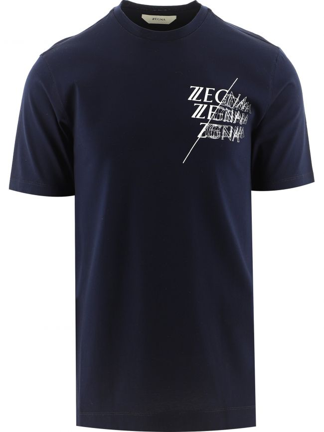 Navy Logo Overlap Print T-Shirt