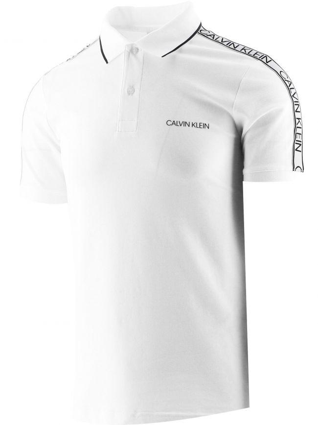White Slim Organic Cotton Logo Tape Polo Shirt
