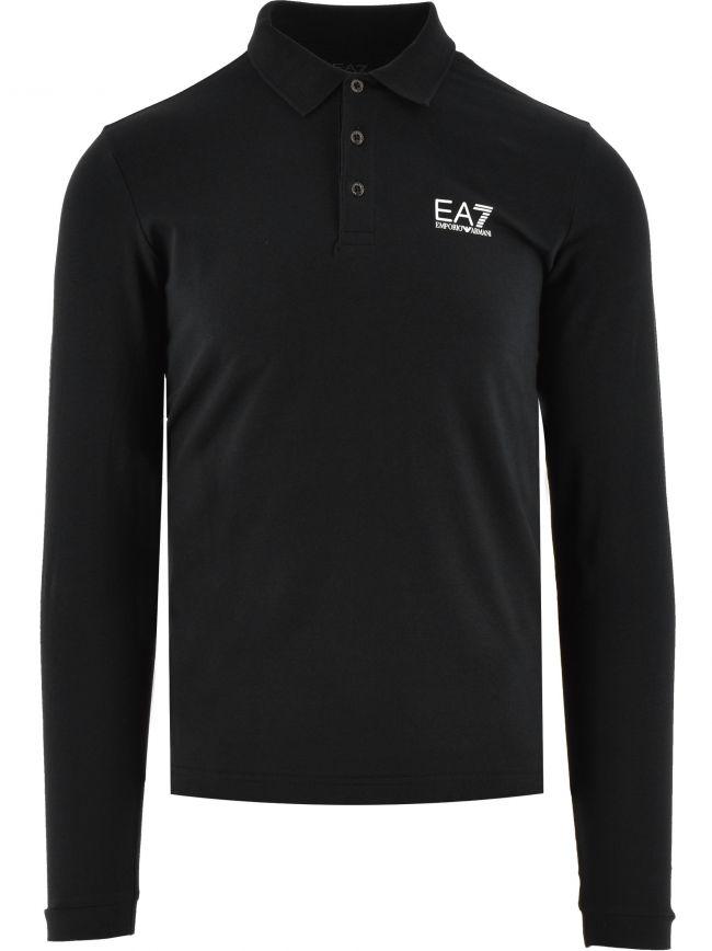 Black Long Sleeve Cotton Polo Shirt