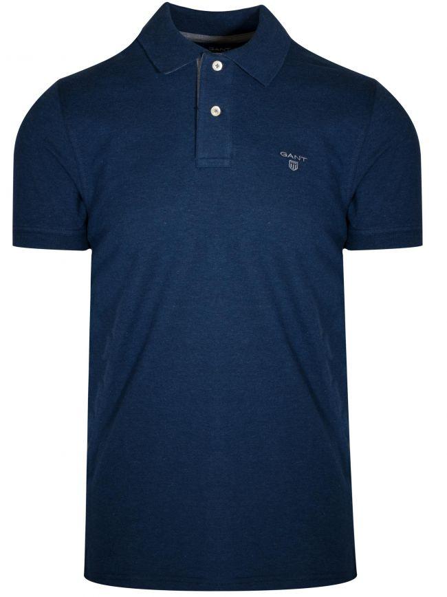 Dark Indigo Melange Contrast Polo Shirt