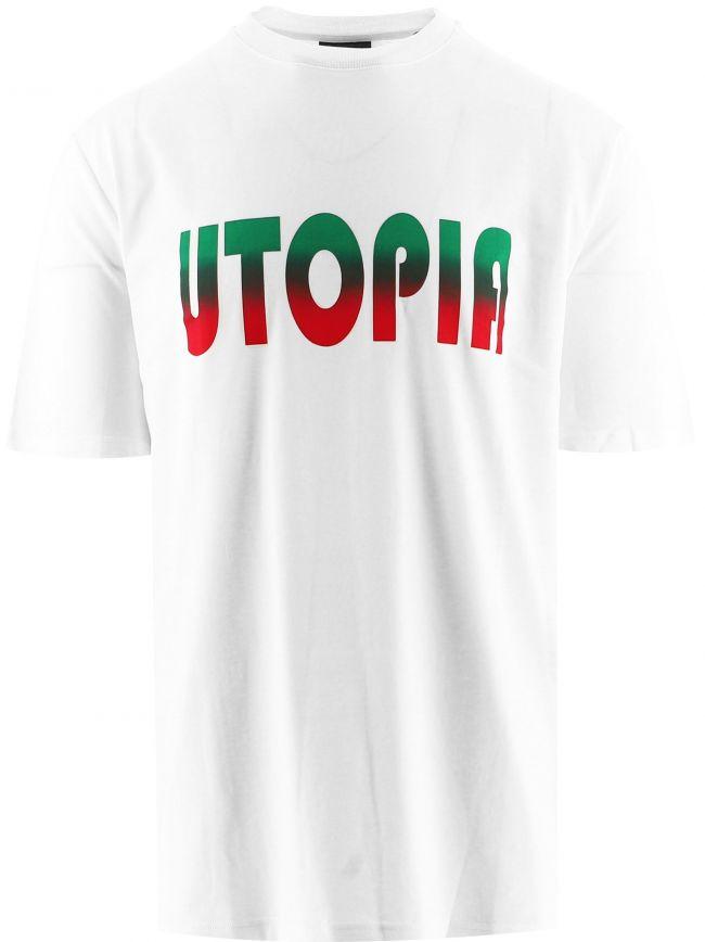 White 'Utopia' Print T-Shirt