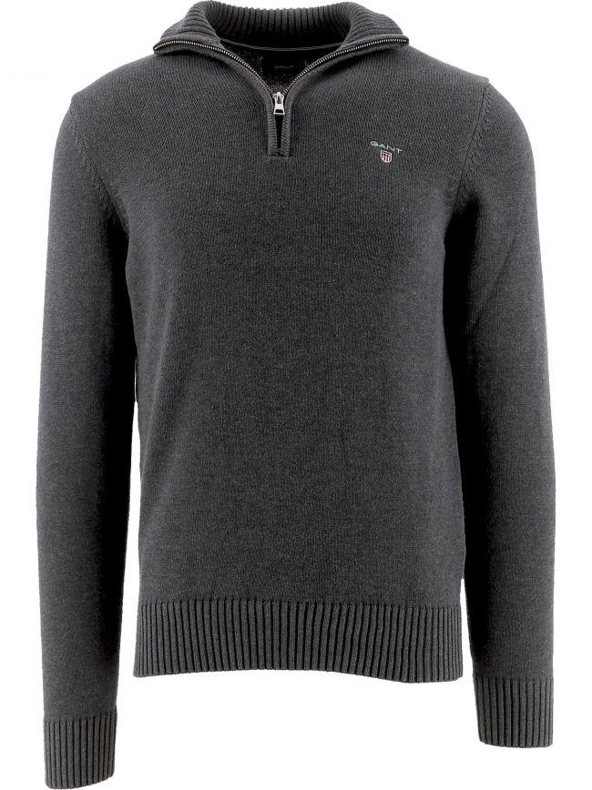 Grey Casual Cotton Half-Zip Jumper