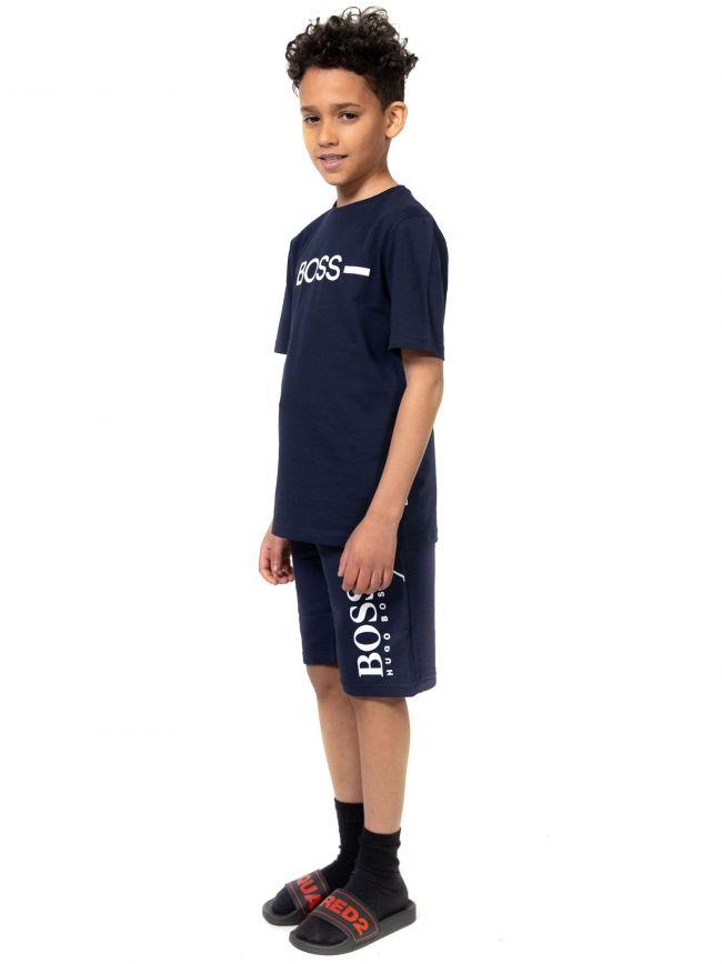 BOSS Kids Navy Logo T-Shirt