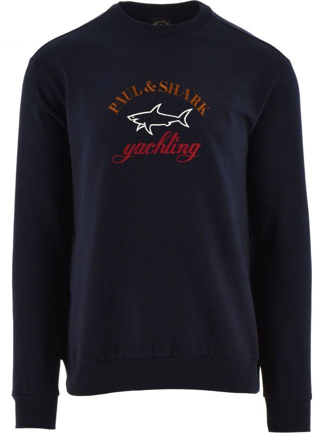 Navy Fleece Three Colour Logo Sweatshirt