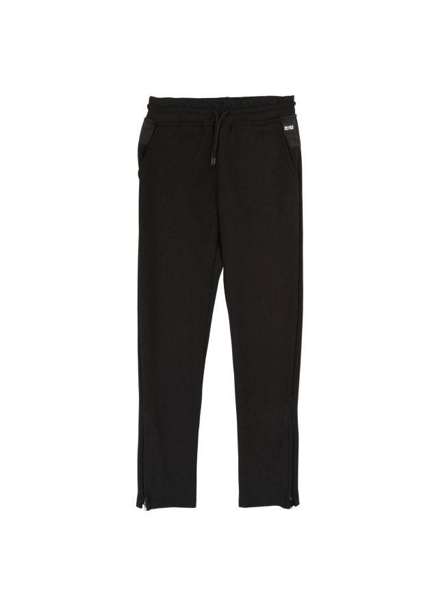 Black Cotton Tracksuit Pants