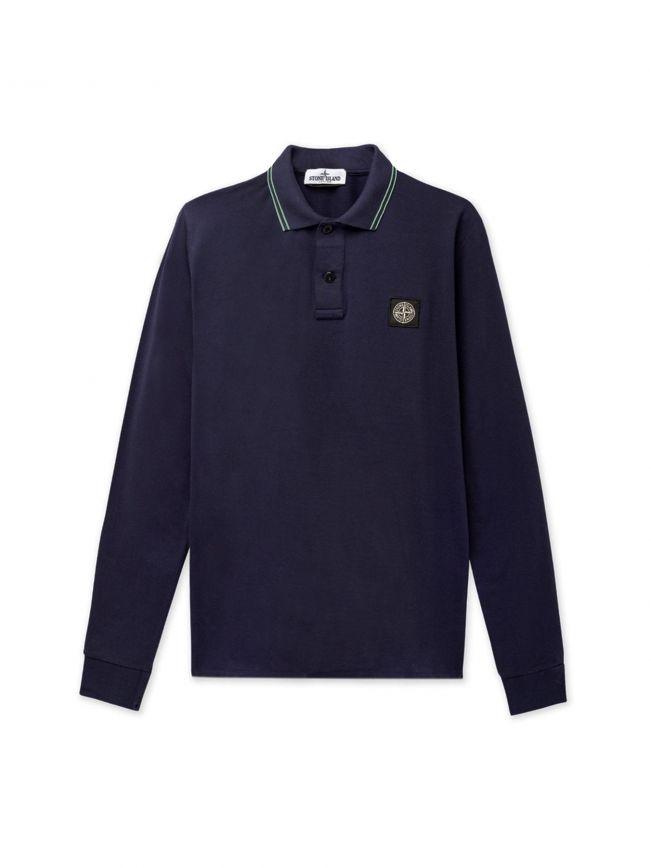 Blue Long-Sleeved Polo Shirt