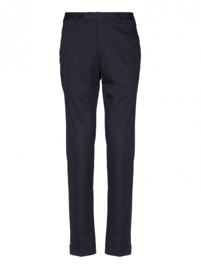 Navy Pleat Cotton Trousers