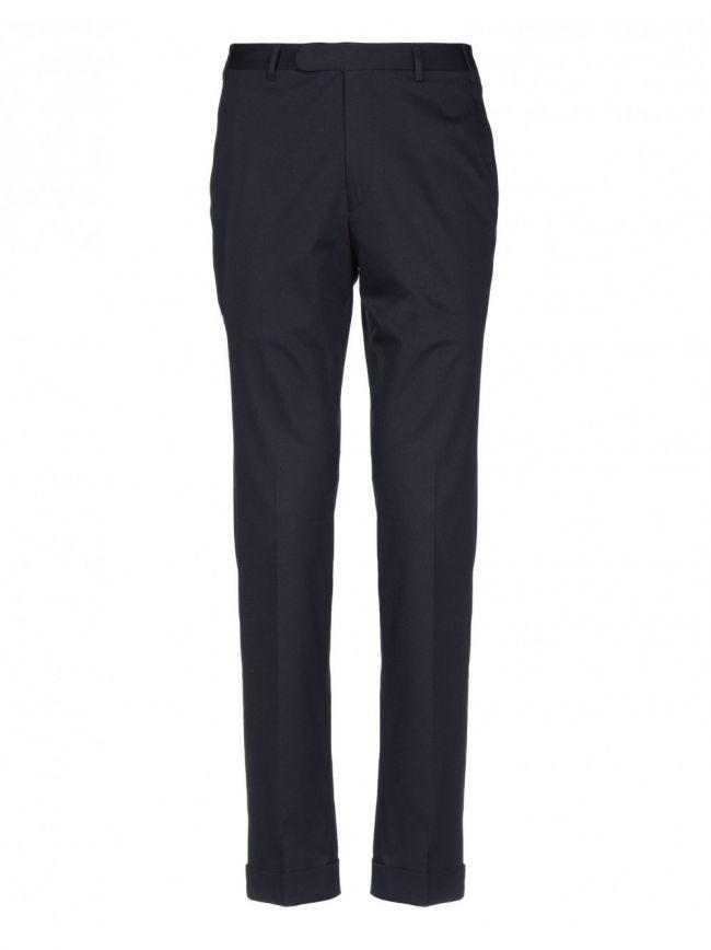 Navy Pleat Cotton Trousers
