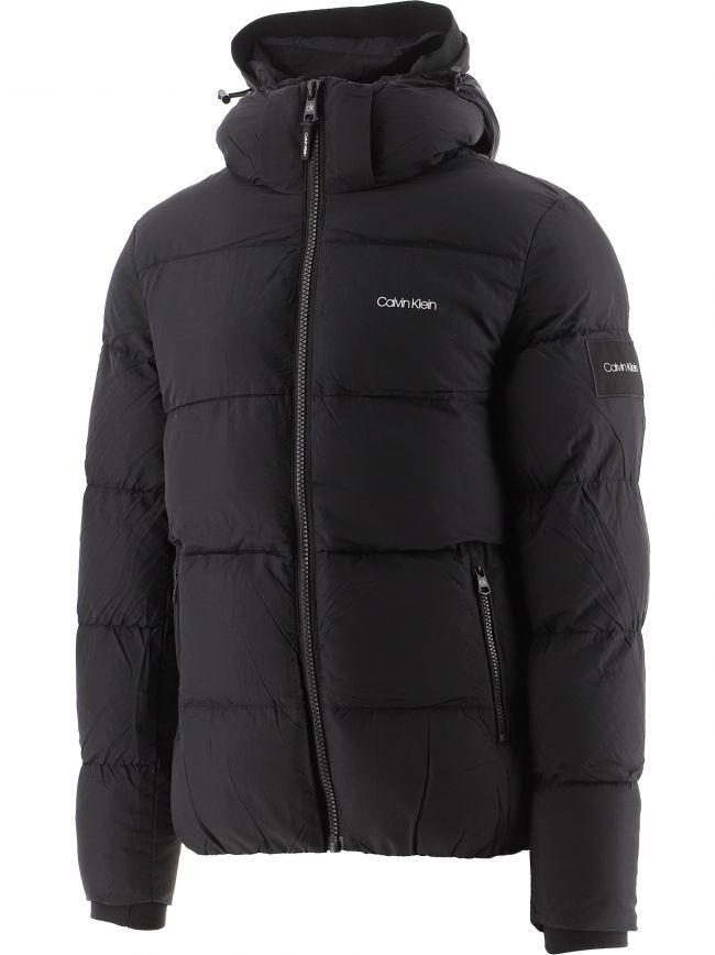 Black Crinkle Nylon Hooder Puffer Jacket