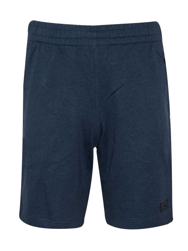 Blue Melange Logo Cotton Shorts