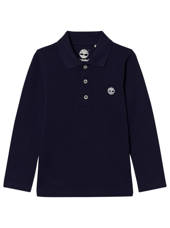 Navy Blue Long-Sleeved Polo Shirt