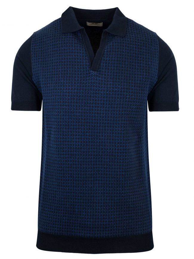 Knitted Open Collar Polo Shirt