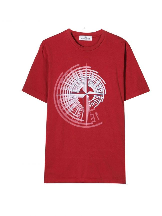Red Printed Compass Logo T-Shirt