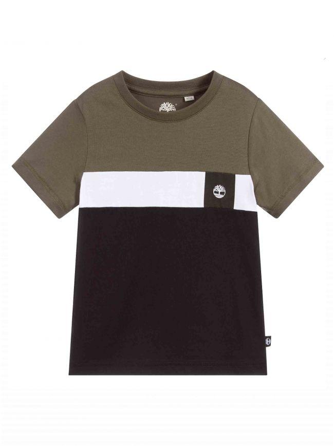 Khaki & Black Cotton Logo T-Shirt