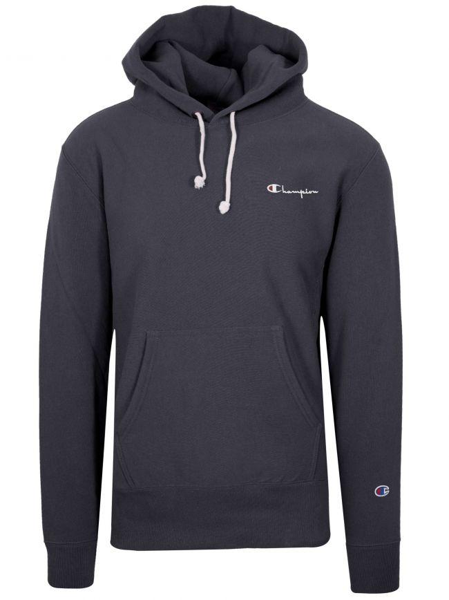 Reverse Weave Navy Blue Hooded Sweatshirt