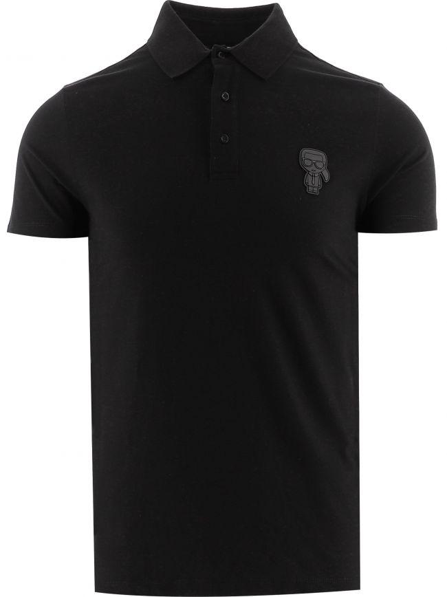Black Tonal Rubber Logo Polo Shirt