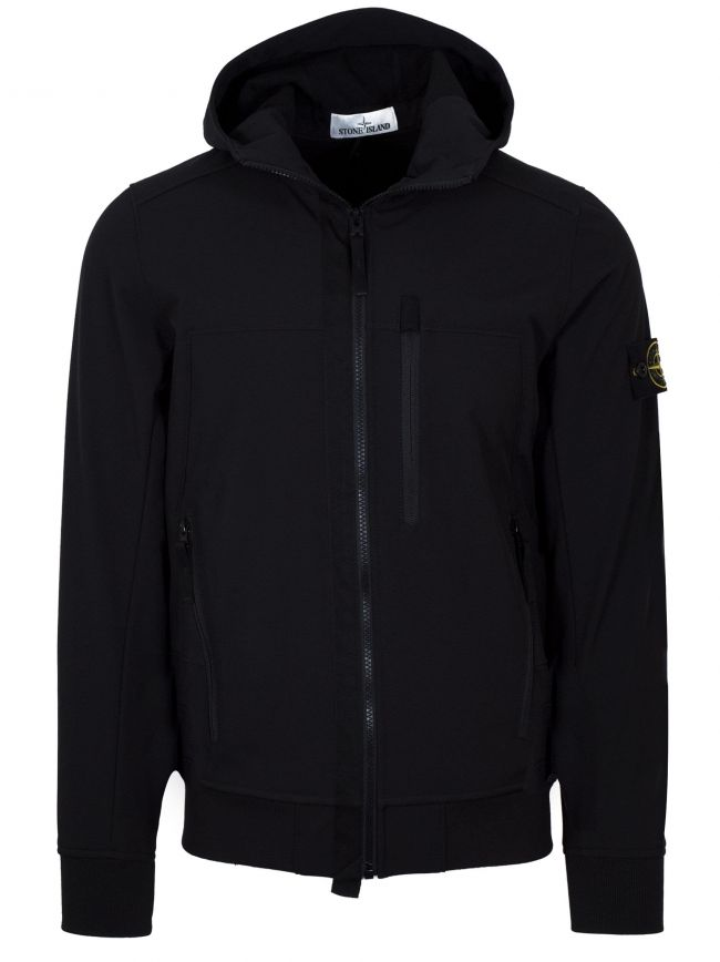 Soft Shell-R Black Hooded Jacket