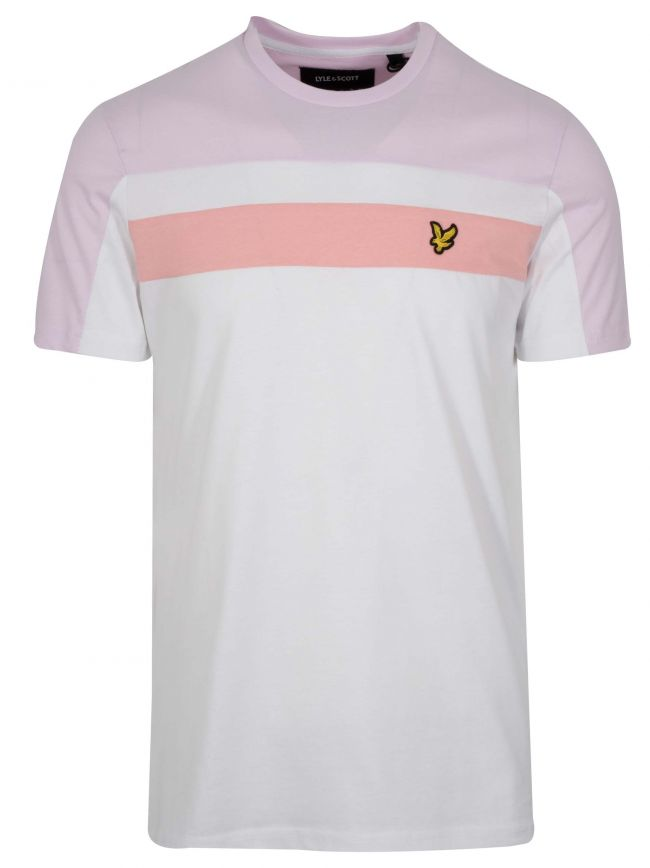 White & Pink Block Colour T-Shirt