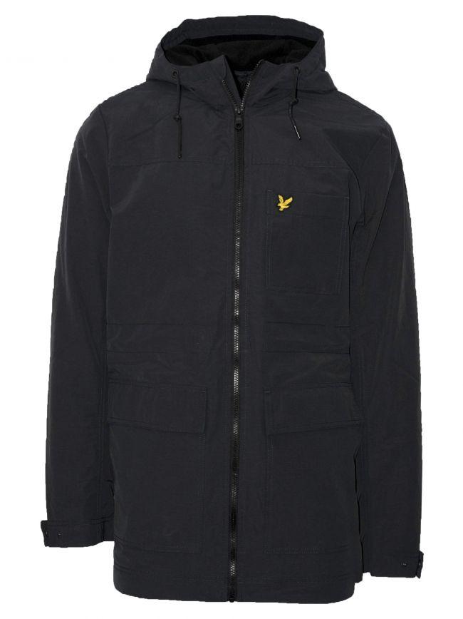 Black Micro Fleece Lined Parka Jacket