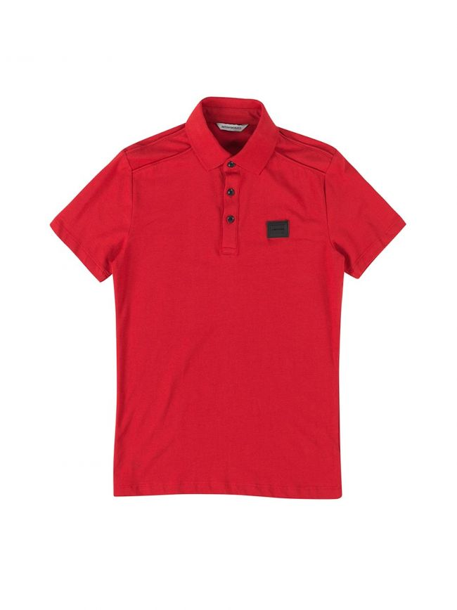 Red Plaque Short Sleeve Polo Shirt