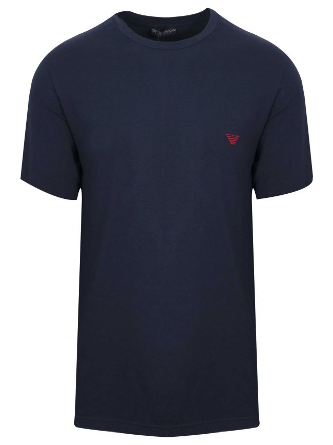 Navy Embroidered Logo Short-Sleeved T-Shirt