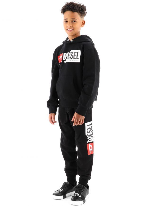 Diesel Kids Black S-GIRK-K10 Hooded Hoodie