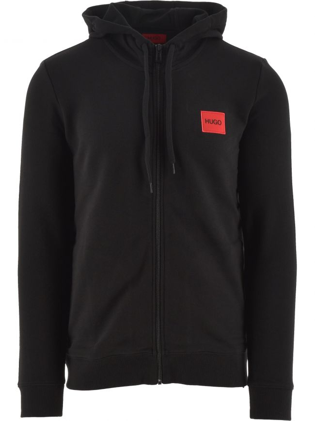 Black Daple Square Logo Hooded Zip Sweatshirt