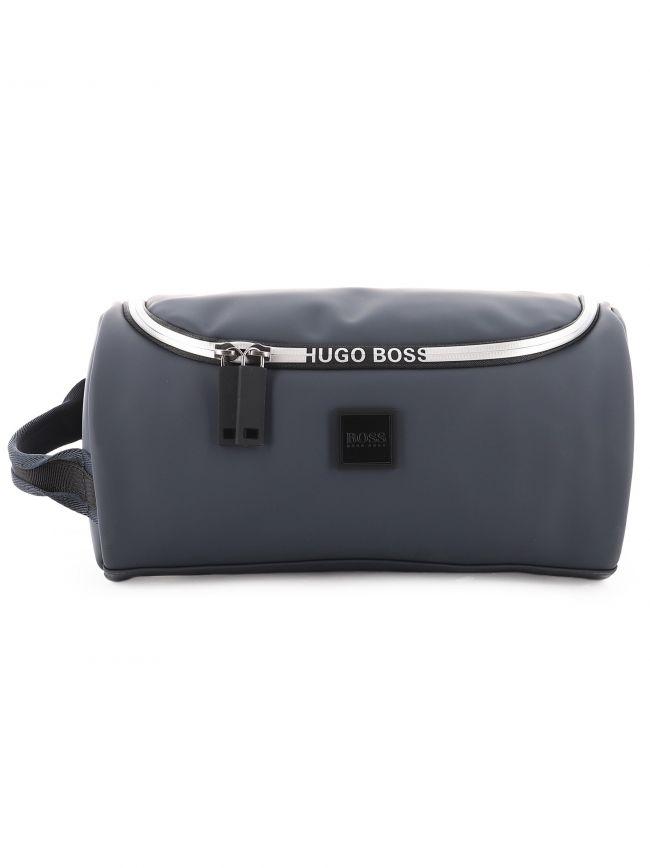 Dark Blue Logo Trimmed Faux Leather Washbag