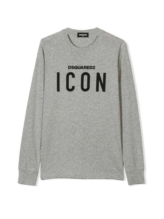 DSQUARED2 Kids Grey & Black ICON Logo Long-Sleeved T-Shirt