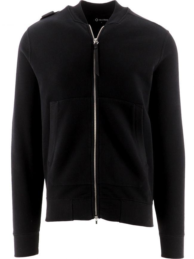 Black Full Zip Bomber Sweatshirt
